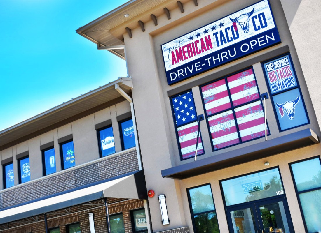 Drive through tacos, burritos, and more at the Great American Taco Company.